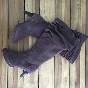 Brown suede tall knee high boots 11 New!